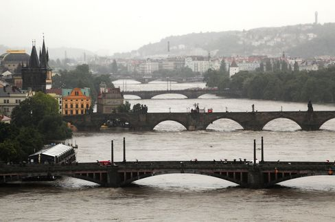 Prague Battered by Floods Hitting Traffic From Rhine to Danube
