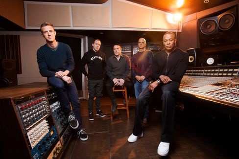 From left: Ian Rogers, who has since left Apple; Luke Wood, who leads the Beats headphones business at Apple; Trent Reznor; Jimmy Iovine; and Dr. Dre, in 2013.