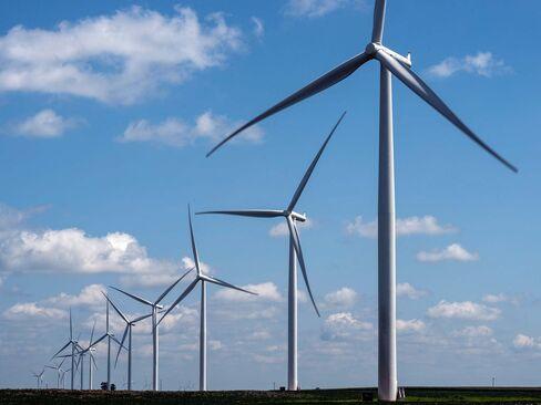 A wind farm in Marshalltown, Iowa.