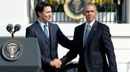 U.S. President Barack Obama shakes hands with Justin Trudeau, Canada's prime minister, during a welcoming ceremony on the South Lawn of the White House in Washington on March 10, 2016.