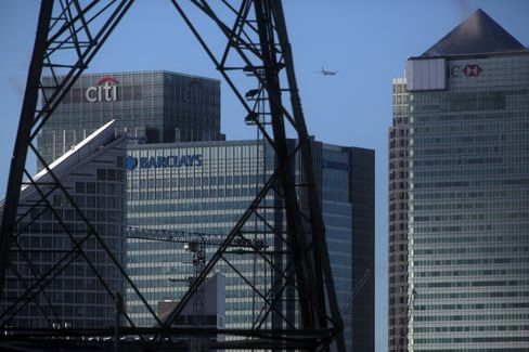 Electricity Pylon Stands in Front of Citigroup Offices in London