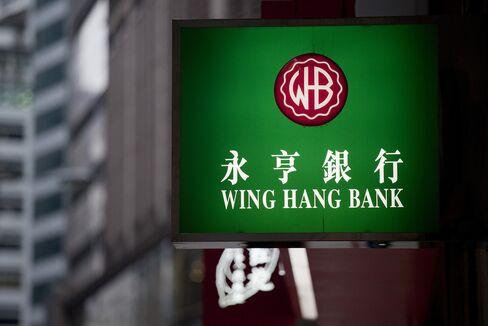 The Wing Hang Bank Ltd. Logo Sits in Hong Kong