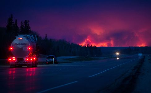 A wildfire burns south of Fort McMurray.