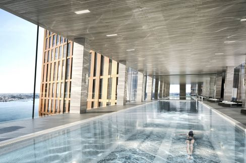 A rendering of the pool area on the skybridge