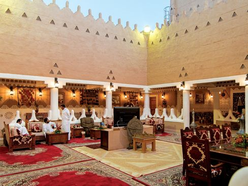 The open-air living room at one of Prince Mohammed's residences.