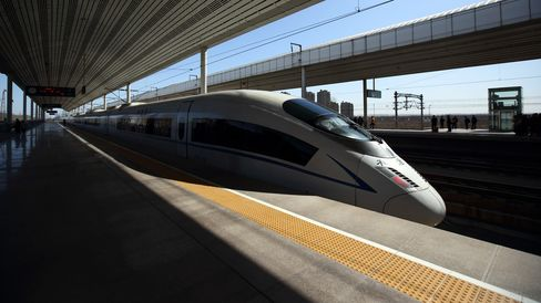 A high speed train sits at Wuqing Railway Station in Tianjin, China.