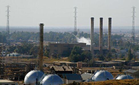 An oil refinery in Kirkuk