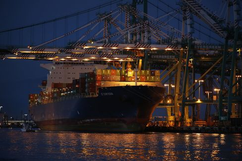 A Container Ship is Unloaded at the Port of Los Angeles
