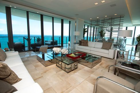 Ocean Views are Seen from a Luxury Condominium in Miami Beach