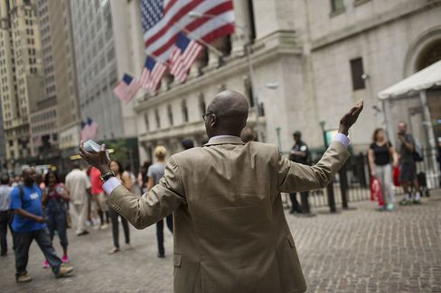 Outside The NYSE As U.S. Stocks Decline, Jobs Report Brings Little Clarity on Fed