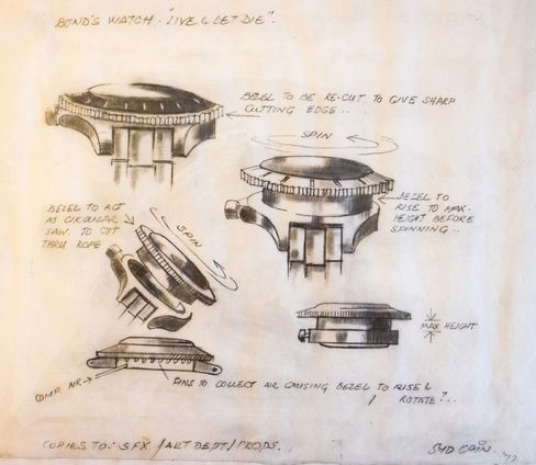 An original sketch for the watch's modifications.