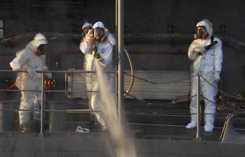 Water is Sprayed at the Fukushima Plant