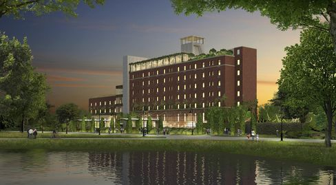 A rendering of the Asbury's exterior.