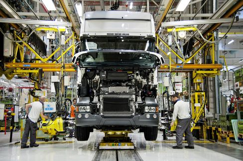 Truck Production at the Scania AB Factory in Sodertalje