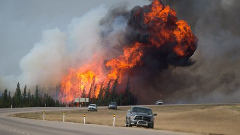 Wildfires burn in Alberta on May 7.