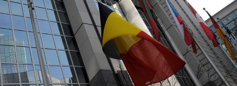 Belgian flag outside the EU Parliament building