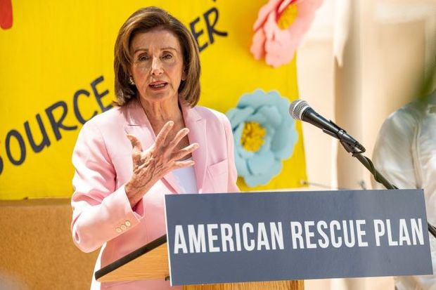 Nancy Pelosi speaking about the American Rescue Plan