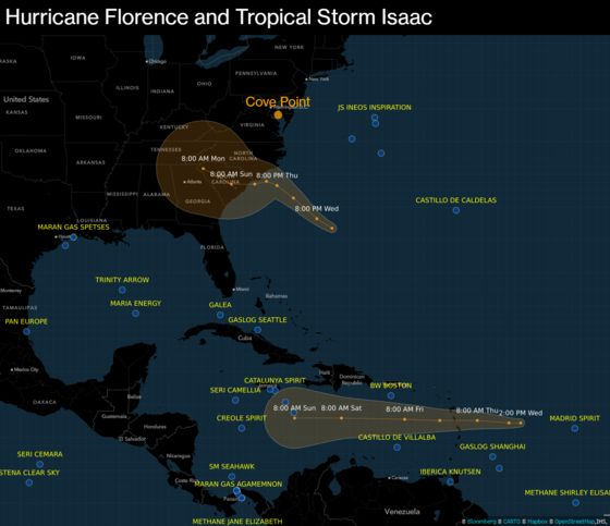 Map: Latest Forecast Cones for Hurricane Florence and Tropical Storm Isaac