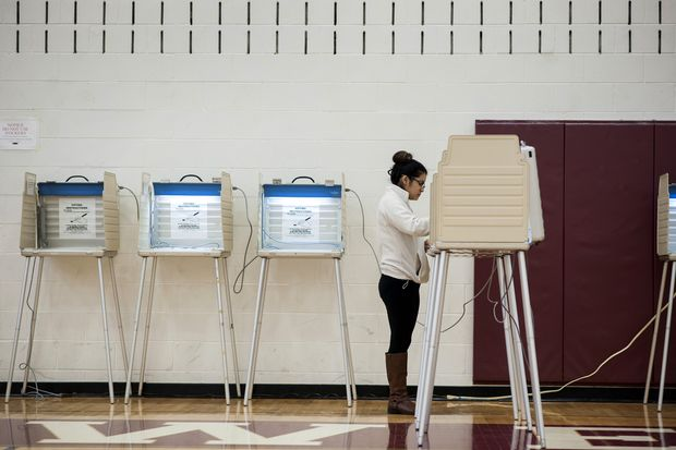Person at voting booth