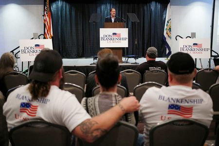 Don Blankenship, formerchief executive officer of Massey Energy, speaks at a campaign event in Huntington, W. Va., on Feb. 1.