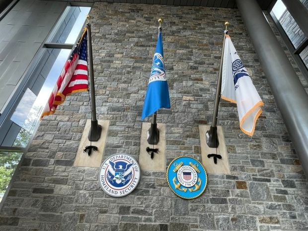 Flags at Department of Homeland Security headquarters
