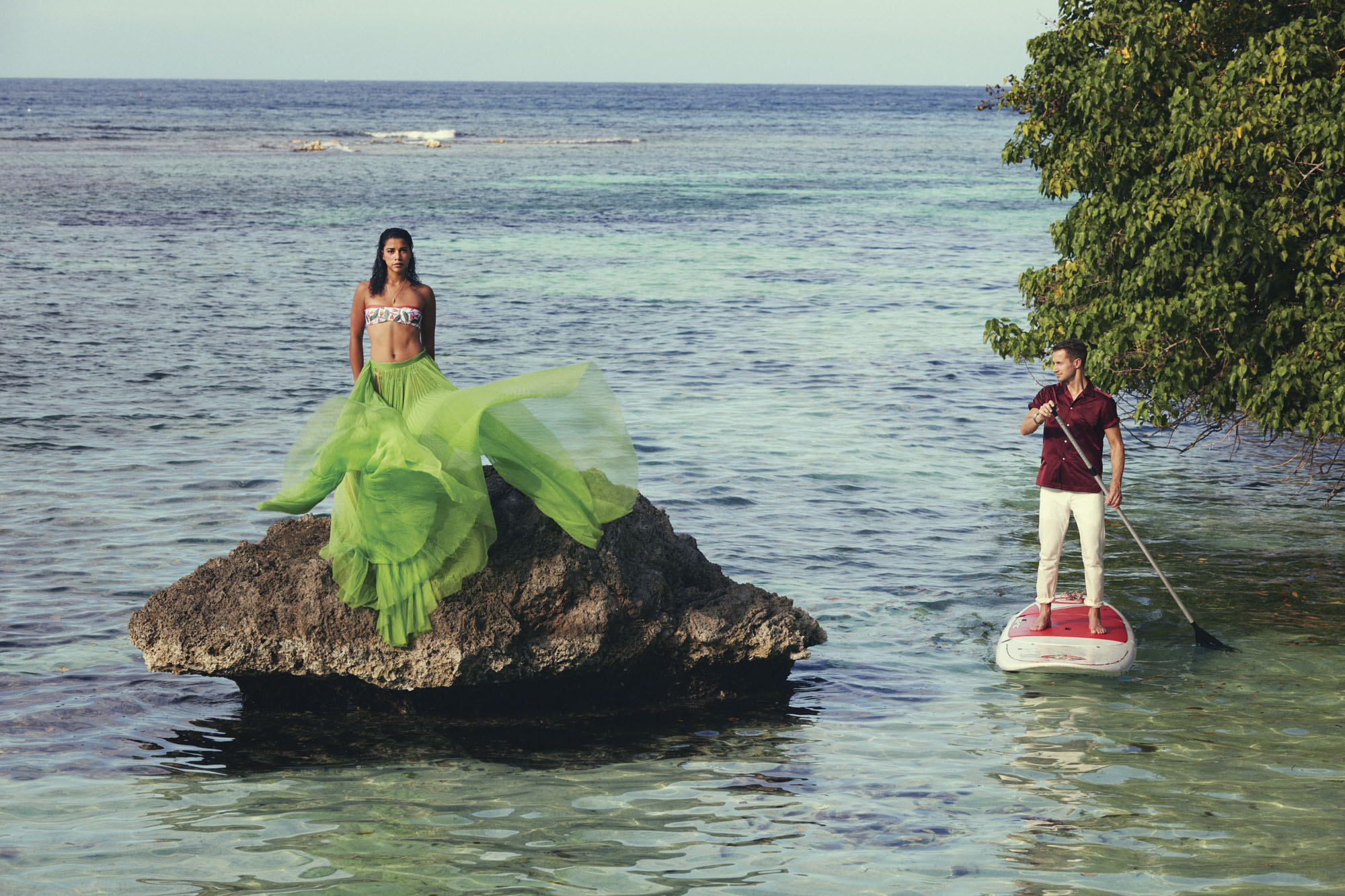 Hannah Bronfman and Brenda Fallis modeling the breeziest looks in Jamaica