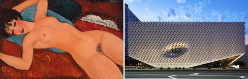Left: Amedeo Modigliani, Nu Couché, 1917-18. Right: Billionaire collector Eli Broad's new museum in downtown L.A.