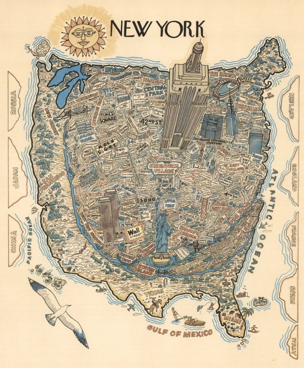 New Yorker Cover Map Of Us A Wonderfully Stereotypical 1970s Map of New York   Bloomberg