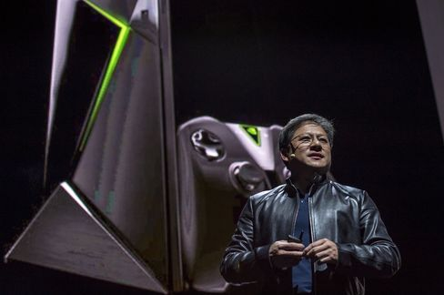Jen-Hsun Huang, chief executive officer of Nvidia, at the unveiling of the Shield during the 2015 Game Developers Conference in San Francisco.