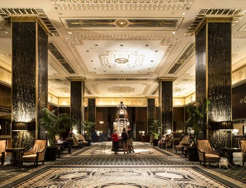 The main lobby of the Waldorf Astoria, with its Victorian clock.