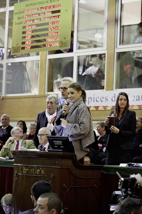 Clothilde Couraut at wine auction