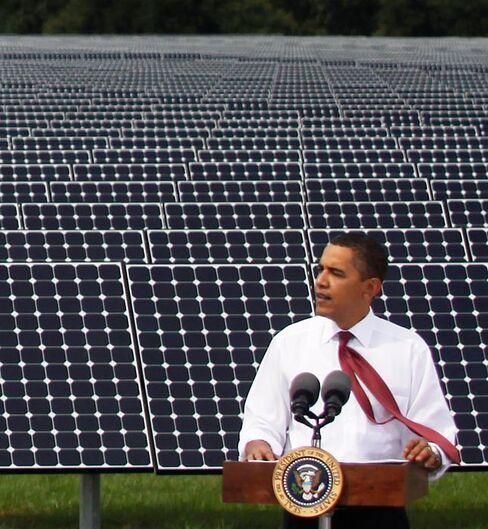 Obama Visits Solar Panel Facility