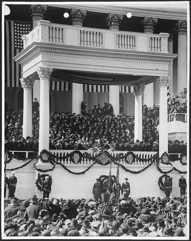 The inauguration of Warren G. Harding as the 29th President of the United States on March 4, 1921.