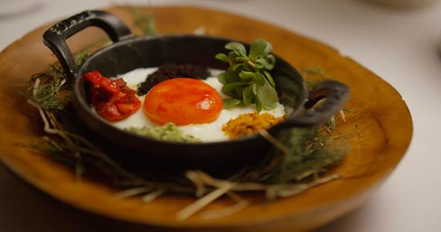 Red pepper egg with everything, a dish from Dan Barber.