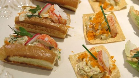 The finished lobster salad appetizers.