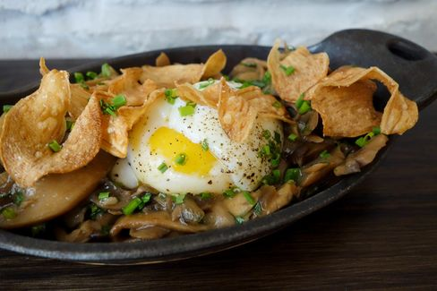Mushrooms and eggs atthe Dawson in Chicago.