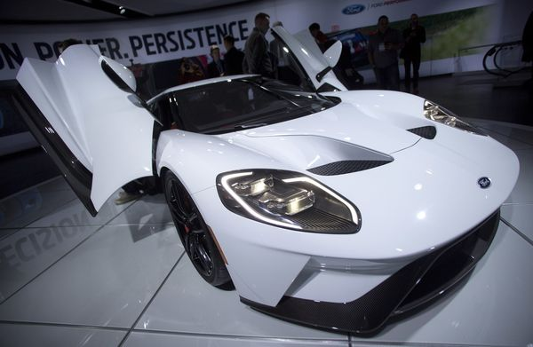 A Ford Motor Co  Gt Sits On Display During The  North American International