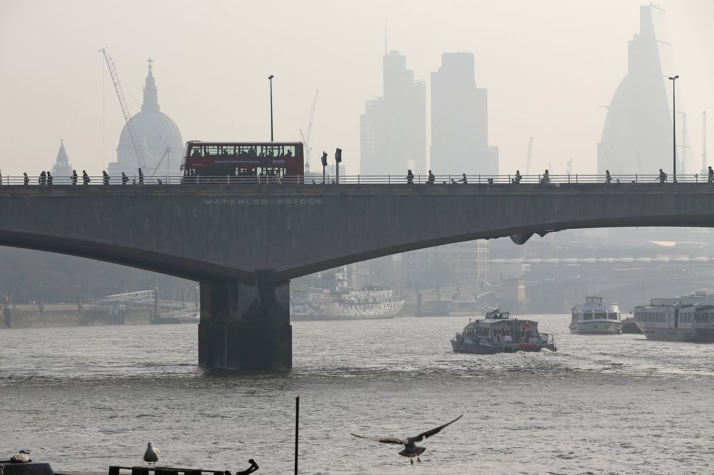 London's Waterloo Bridge on a smoggy day.
