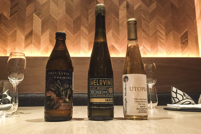 Meads to try at NYC's Agern from left: B. Nektar Tuco-Style Freakout, Melovino Swinger, Moonlight Meadery Utopian.