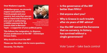 The design of a Wetherspoon's Brexit beer mat.