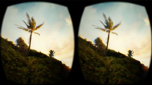 A view of Hawaii as seen through the Oculus Rift's DK2 headset on the Marriott's Teleporter.