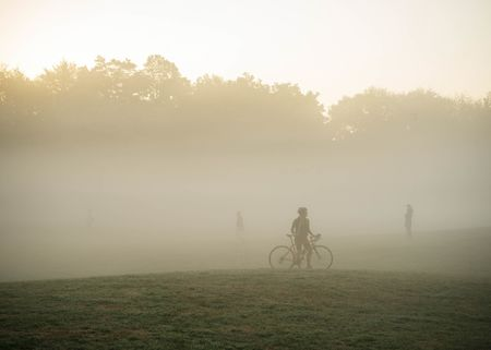 Cyclist Jodi Sussman poses for a portrait while doing morning laps at Prospect Park. (Shot at 1/350th, f/4.8, and 400iso.)