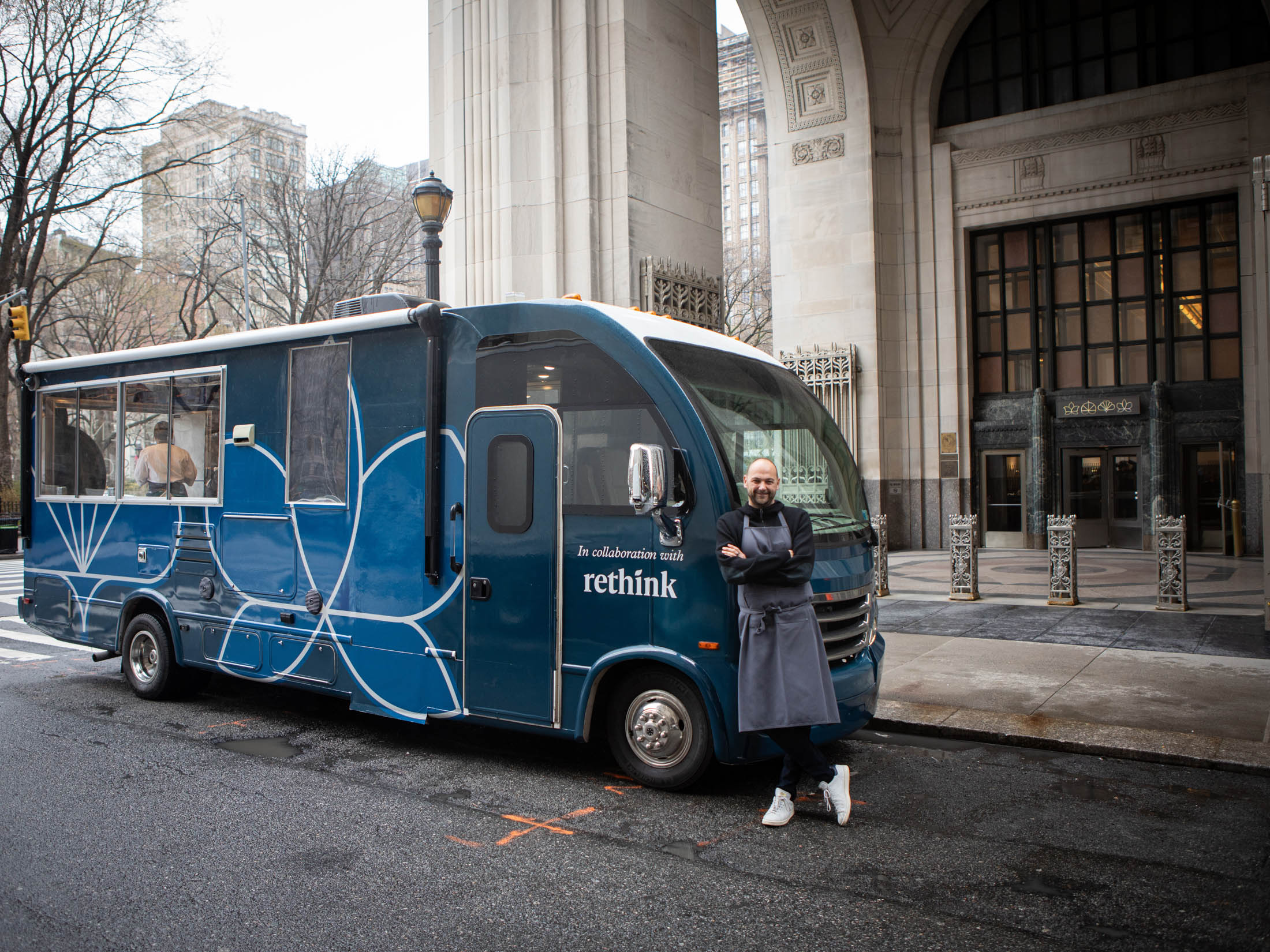 Chef Daniel Humm stands by Eleven Madison Truckin front of his restaurantEleven Madison Park.