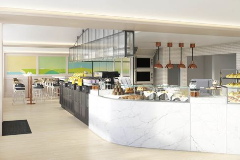 A rendering of Dominique Ansel's upcoming London bakery. The two-story space opens in Belgravia in September, with a menu of New York classics and exclusive, British-inspired creations.