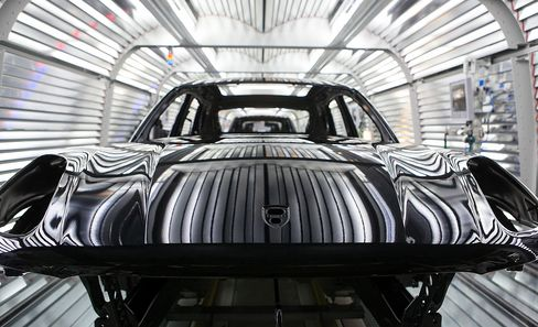 A Porsche Macan on the assembly line in Leipzig, Germany.