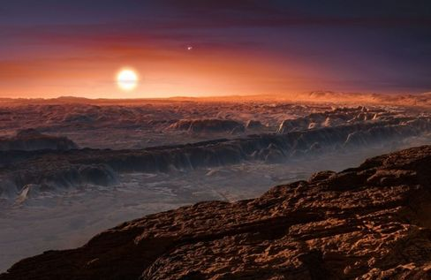 An artist's impression shows the surface of Proxima b.