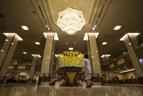 The main lobby of the Imperial Hotel in Tokyo.