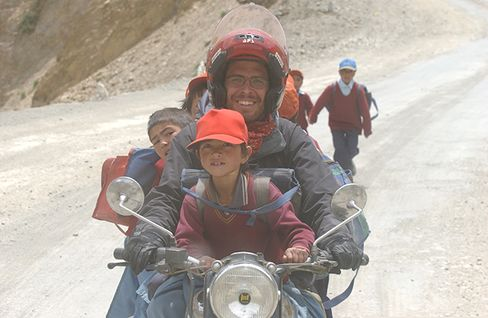 Power during a motorcycle trip in the Himalayas in 2004