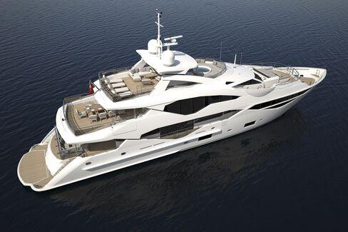 A rendering of a Sunseeker 131 luxury yacht.