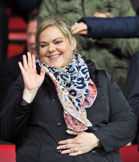 Katharina Liebherr waves to fans at Southampton's St. Mary's Stadium.